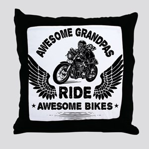 Biker Grandpa Throw Pillow