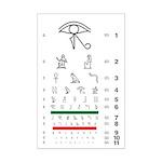 Eye chart with hieroglyphs