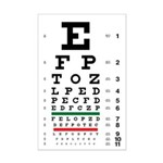 Eye chart with blurring letters