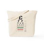 Evolving letters eye chart tote bag