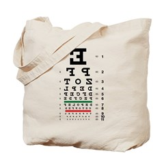 Backwards letters eye chart tote bag