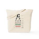 Blurring letters eye chart tote bag