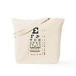 Falling letters eye chart tote bag