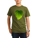 Green Heart Leaf Organic Men's T-Shirt (dark)