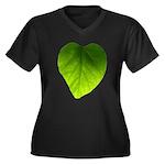 Green Heart Leaf Women's Plus Size V-Neck Dark T-S