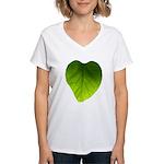Green Heart Leaf Women's V-Neck T-Shirt