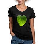 Green Heart Leaf Women's V-Neck Dark T-Shirt