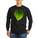 Green Heart Leaf Long Sleeve Dark T-Shirt