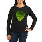 Green Heart Leaf Women's Long Sleeve Dark T-Shirt