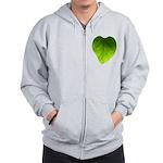 Green Heart Leaf Zip Hoodie