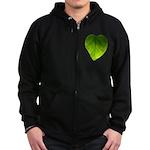 Green Heart Leaf Zip Hoodie (dark)