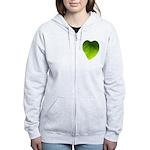 Green Heart Leaf Women's Zip Hoodie