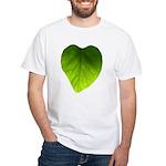Green Heart Leaf White T-Shirt