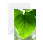Green Heart Leaf Greeting Cards (Pk of 10)