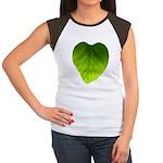 Green Heart Leaf Women's Cap Sleeve T-Shirt