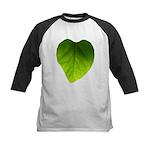 Green Heart Leaf Kids Baseball Jersey