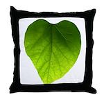 Green Heart Leaf Throw Pillow