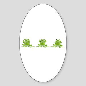 3 Frogs! Oval Sticker