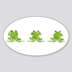 3 Frogs! Oval Sticker
