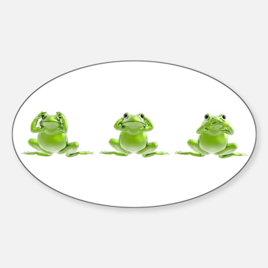 3 Frogs! Oval Decal
