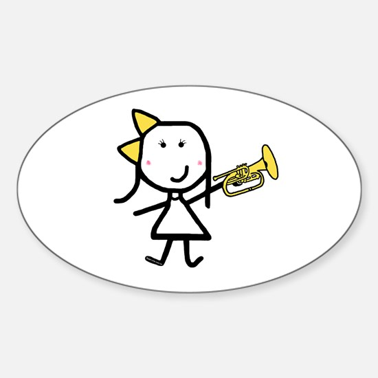 Girl & Mellophone Oval Decal