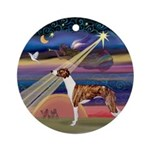 Christmas Star & Whippet Ornament (Round)