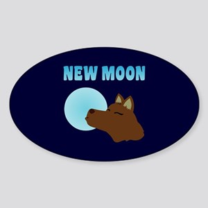 New Moon Jacob Wolf Oval Sticker