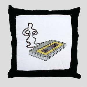 Compact Cassette Tape Man Dancing Mono Line Throw