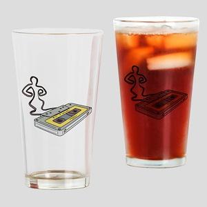 Compact Cassette Tape Man Dancing Mono Line Drinki
