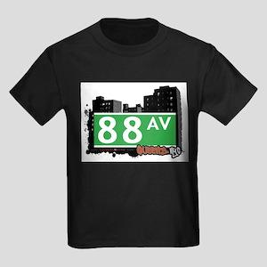 88 AVENUE, QUEENS, NYC Kids Dark T-Shirt