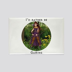 I'd rather be gaming Rectangle Magnet