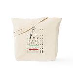 Runes eye chart tote bag