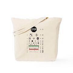 Road signs eye chart tote bag