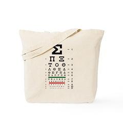 Greek eye chart tote bag