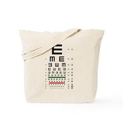 Tumbling E eye chart tote bag