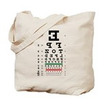 Mirror image eye chart tote bag