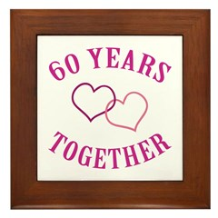 60th Anniversary Two Hearts Framed Tile
