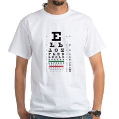 Upside-down letters eye chart white T-shirt