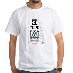 Backwards letters eye chart white T-shirt