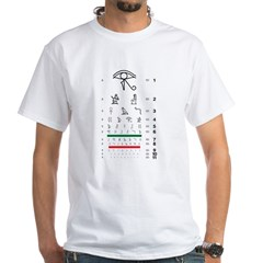 Hieroglyphs eye chart white T-shirt