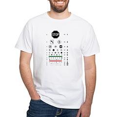 Road signs eye chart white T-shirt