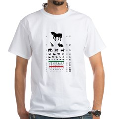 Animal silhouettes eye chart white T-shirt