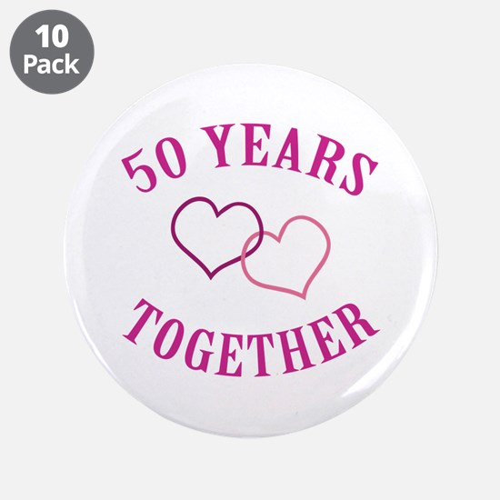 """50th Anniversary Two Hearts 3.5"""" Button (10 pack)"""