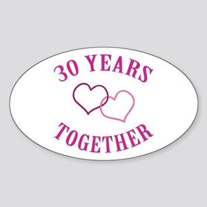 30th Anniversary Two Hearts Oval Sticker