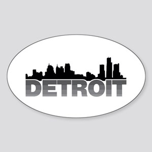 Detroit Skyline Oval Sticker