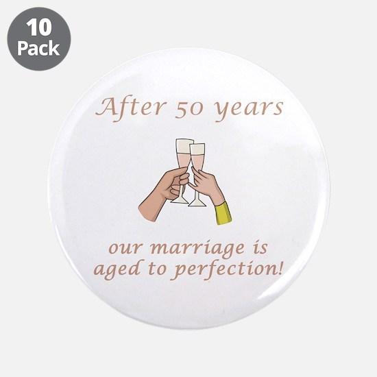 "50th Anniversary Wine glasses 3.5"" Button (10 pack"