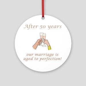 50th Anniversary Wine glasses Ornament (Round)