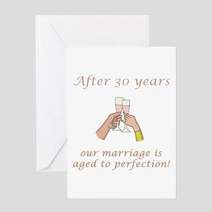 30th Anniversary Wine glasses Greeting Card
