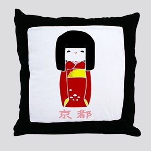 """Japanese Kyoto Doll"" Throw Pillow"