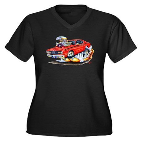 Duster Red Car Women's Plus Size V-Neck Dark T-Shi